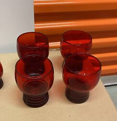 Four Vintage Ruby Red Glasses Tumblers With Thinner Ribbed Bases