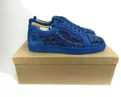 Christian Louboutin Men's Louis Junior Strass Flats Sneakers Size 44/11 New