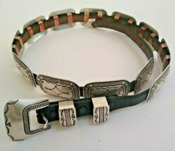 Navaho Signed Ls Hand Made Sterling 261 Grams Western Concho Belt W/ Buckle