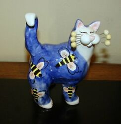 Vintage Amy Lacombe Whimsical Hand Painted Cat Kitty Figurine - Annaco Creations