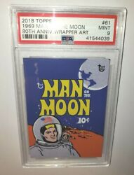 Topps 2018 80th Anniversary Wrapper Art Cards 61 Man On The Moon 69 Mint Psa 9