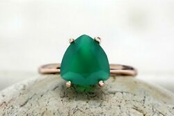 925 Sterling Silver Emerald Corundum Gemstone Engagement Womens Ring Jewelry