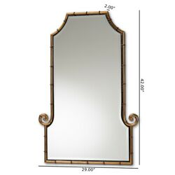 Baxton Studio Layan Gold Finished Metal Bamboo Inspired Accent Wall Mirror