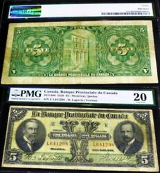 1928 5 Provincial Bank Of Canada Chartered Banknote Only 28 Graded By Pmg
