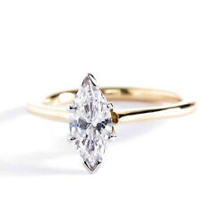 0.70 Ct Si2 D Simple Marquise Solitaire Diamond Engagement Ring 18k-yellow Gold