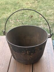 Antique Early Cast Iron Cook Pot With Wrought Iron Handle