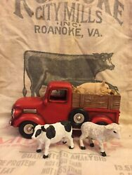 Primitive Country Farmhouse Red Truck Planter Spring Summer Cow Pig Sheep Decor