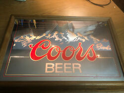Vintage 1984 Coors Beer Lighted Mirrored Mountain Sign. Excellent Shape Rare
