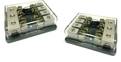 2pcs Agu Fuse Distribution Block One 0/2, Two 4 Ga In Four 8 Gauge Awg Out 12v