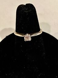 Size 6- Solid 14k White Gold Diamond Ring, See Other Gold Jewelry And Coins