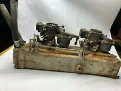 Marine Omc 4cyl Intake Exhaust Manifold 311600 And 2 Carburetors For Parts Only