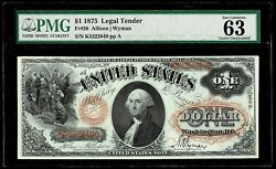 1875 Us 1 Legal Tender Red Seal Allison And Wyman Fr 26 Pmg Choice Unc 63 Epq