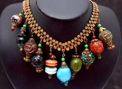 Antique Victorian Brass Glass Celluloid Turquoise Lantern Charm Necklace 25710