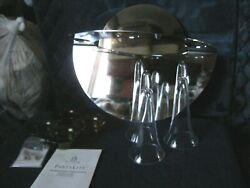 Partylite P8442 Modern Silver Triple Wall Sconce Candle Set Holder Mirror