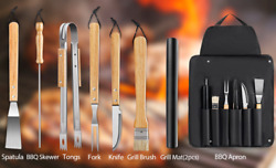Mosfiata Bbq Grill Tools Set, 9 Pcs Stainless Steel Barbecue Tool Sets With Extr