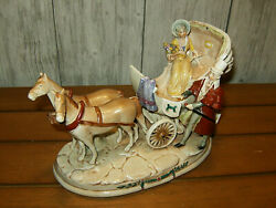 Vintage Grafenthal Porcelain Horse And Carriage With Couple-germany-c1893