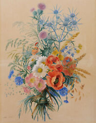Adele Riché French Botanical Art Drawing Watercolor Still Life Flowers Painting