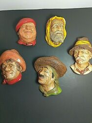 Chalkware Heads - Lot Of 5 Wall Mountable Vintage - Bosson