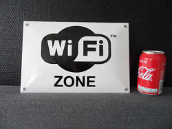 Wifi Zone - Enamel Porcelain Sign - Emaille-email-schild - Plaque Emaillee 220