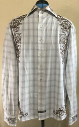 English Laundry Men#x27;s XL Christopher Wicks Embroidered Flip Cuff Button Shirt
