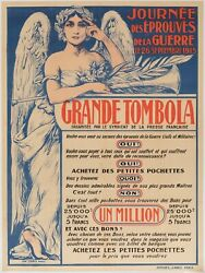 Original Vintage Poster - Grande Tombola - Raffle - First World War - Press 1915