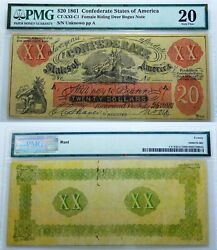 The Goddess Of The Hunt 1861 20 Pmg20 . Female Riding Deer Note. Very Scarce