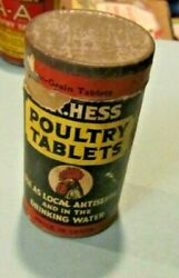 Vintage 1929 Dr. Hess And Clark Poultry Tablets Full Tin Ashland Ohio Advertising