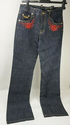 Dsquared2 Women's Red Beaded Coral Beads Blue Denim Jeans Size 42 It / 6 Us