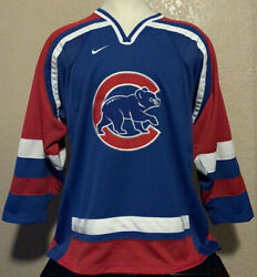 Nike Men's Size Medium Embroidered Chicago Cubs Mlb Nhl Hockey Jersey M Rare