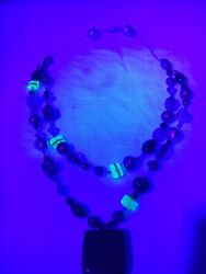 Uranium Green Glass Pearl Murano Glass Beads Necklace Vintage