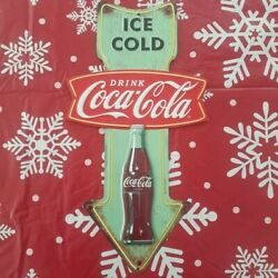 Coke Cola Arrow Metal Sign With Raised Letters 14 By 6 Inches Gas Shop