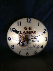 Vintage G-e Lamps Advertising Bubble Wall Clock Lighted 15andrdquo Telechron Works Rare