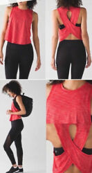 Lululemon Fast As Light Muscle Tank Top Shirt Open Back Red Size 6