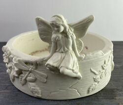 Partylite Angel Bisque 3 Wick Candle Holder Butterfly Flowers