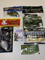 New Assorted Tackle Box Bait Bass Fishing Lures Worms Lot C