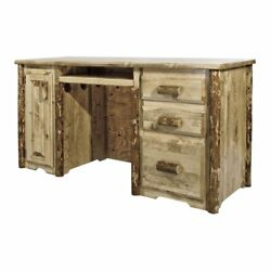 Montana Woodworks Glacier Country Wood Computer Desk In Brown Lacquered