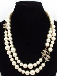 Pearl Necklace Pendant Coco Mark Rhinestone Engraved With Box From Japan