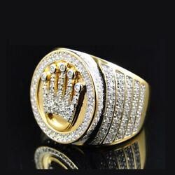 Solid 14k Gold Natural Diamonds King Style Engagement Boys Mens Ring Jewelry