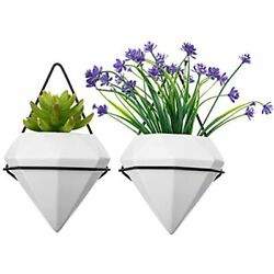 ShoppeWatch Wall Planters Indoor Set Of 2 Geometric Flower Vases Ceramic Mounted