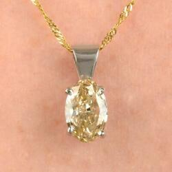 Stunning Gia Certificate Vs1 0.78ct Oval Diamond Solitaire Pendant And Gold Chain