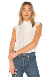 New Tags Ulla Johnson Heddy White Embroidered Silk Bow Ruffle Blouse Top 4