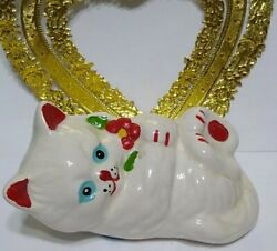 Vintage Cat Figurine Ceramic White red Accent Flowers Blue Eyes