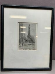 James Swann Signed Water Tower Chicago Landmark Etching Chicago