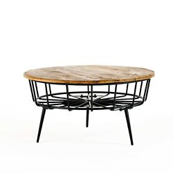 Tomilson Modern Industrial Handcrafted Mango Wood Coffee Table, Natural And Blac