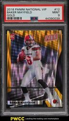 2018 Panini National Vip Gold Baker Mayfield Rookie Rc /10 12 Psa 9 Mint