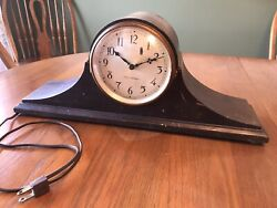 Vintage Seth Thomas Wood Electric Mantle Clock Working. No Chime Case Is Crazed