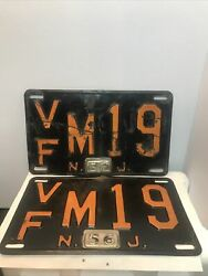 Vintage Matching Set Of New Jersey License Plates Vfm19.from 1965 0981635