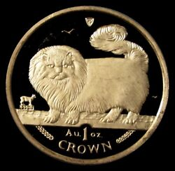 1997 Gold Isle Of Man 1 Oz Long Haired Smoke Cat 1 Crown Proof-like Coin