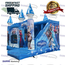 16x13ft Inflatable Frozen Castle Bounce House And Slide With Air Blower