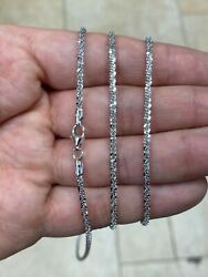 925 Sterling Silver Rhodium 2.30mm Twisted Rock Sparkle Glitter Chain